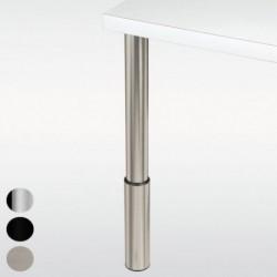 Pied de table réglable, inox, chromé ou noir, hauteur 810 à 910 mm