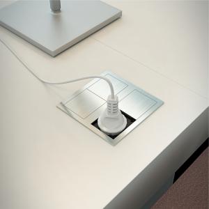 Bloc 1 prise et 2 USB chargeur à encastrer inox