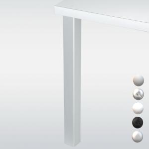 Pied de table carré JOEY 6 cm, hauteur 70,5 cm, alu, chromé, blanc, noir ou inox