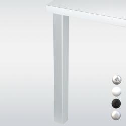 Pied de table carré JOEY 6 cm, hauteur 87 cm, blanc, noir, chromé ou inox
