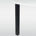 Pied de table carré 60 mm hauteur 870 mm blanc, chromé ou inox