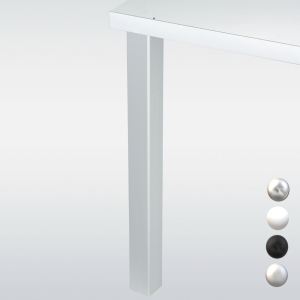 Pied de table carré JOEY 6 cm, hauteur 110 cm, blanc, noir, chromé ou inox