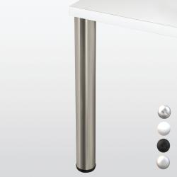 Pied de table rond hauteur 710 ou 870 mm, blanc, noir, chromé ou inox, diamètre 80 mm
