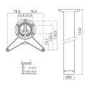 Pied de bar 1100mm diam 80mm