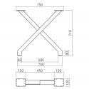 Pied de table en X, hauteur 710 mm