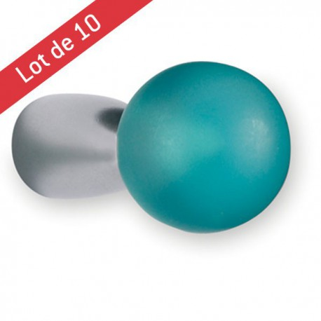 Lot de 10 boutons de meuble PION turquoise
