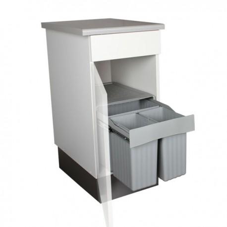 Poubelle de cuisine coulissante 3 bacs 31 litres - Systeme poubelle coulissante ...