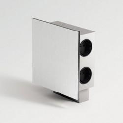 Bloc prise inox carré 3 prises + 2 ports USB