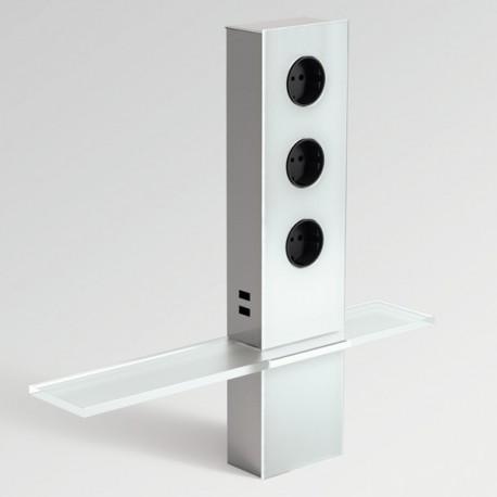 Bloc 3 prises + 2 ports USB avec tablette verre