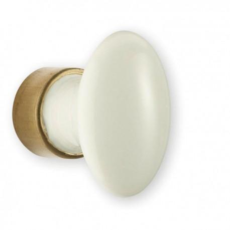 Bouton de meuble porcelaine forme ovale