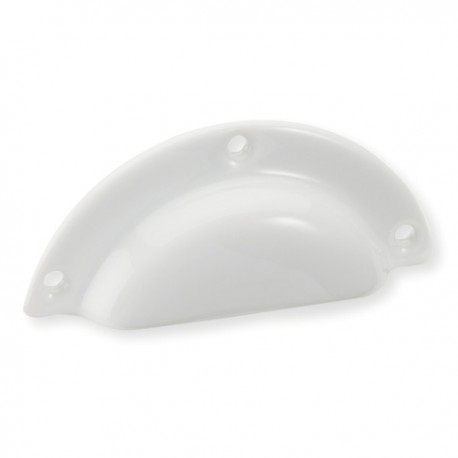 Poignée de meuble porcelaine forme coquille