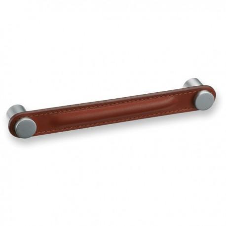 Poignée de meuble cuir et métal SADDLE marron foncé ou marron clair