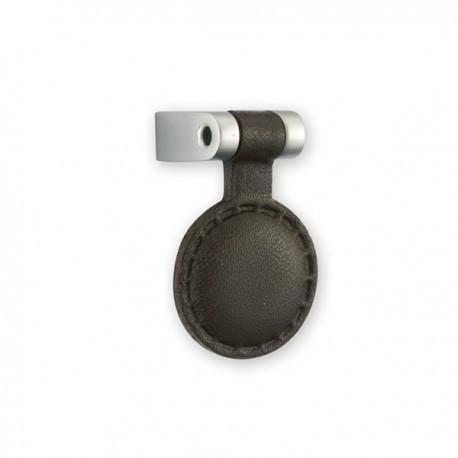 Bouton de meuble cuir et métal tirette