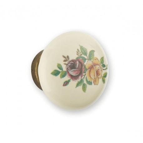 Bouton de meuble porcelaine et métal fleur