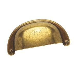 Poignée de meuble coquille zamak coloris bronze