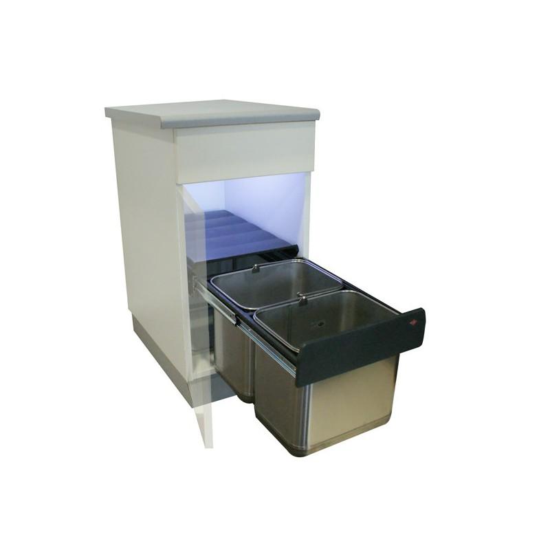 poubelle basse 2 bacs 30l inox. Black Bedroom Furniture Sets. Home Design Ideas