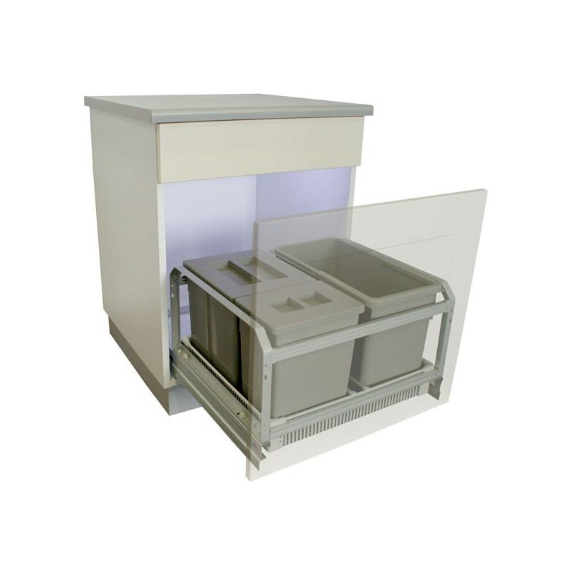 poubelle coulissante 45 litres grise. Black Bedroom Furniture Sets. Home Design Ideas
