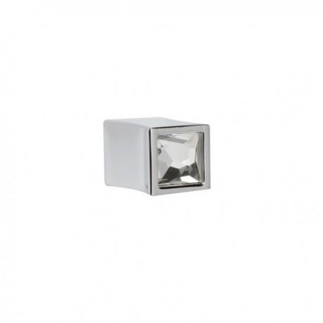 Bouton de meuble chromé et verre forme carré
