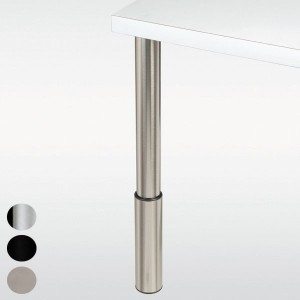 Pied de table réglable, inox, chromé ou noir, hauteur 710 à 910 mm