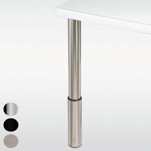 Pied de table réglable, inox, chromé ou noir, hauteur 710 à 810 mm