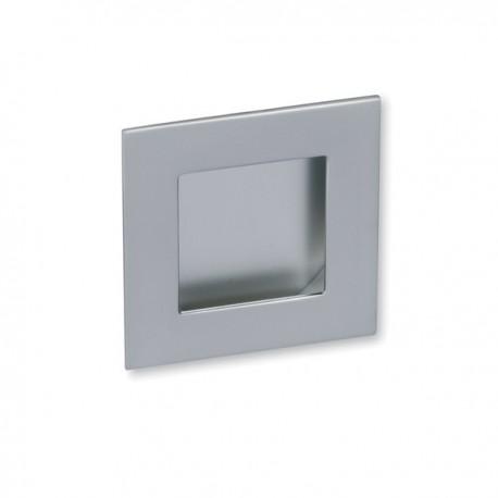 Poignée de meuble look aluminium carré à encastrer