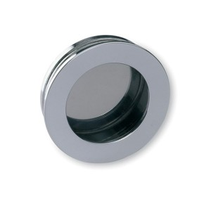 Poignée de meuble chromé ronde à encastrer
