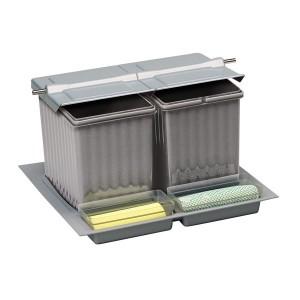 Poubelle cuisine pour tiroir 3 bacs 27 litres