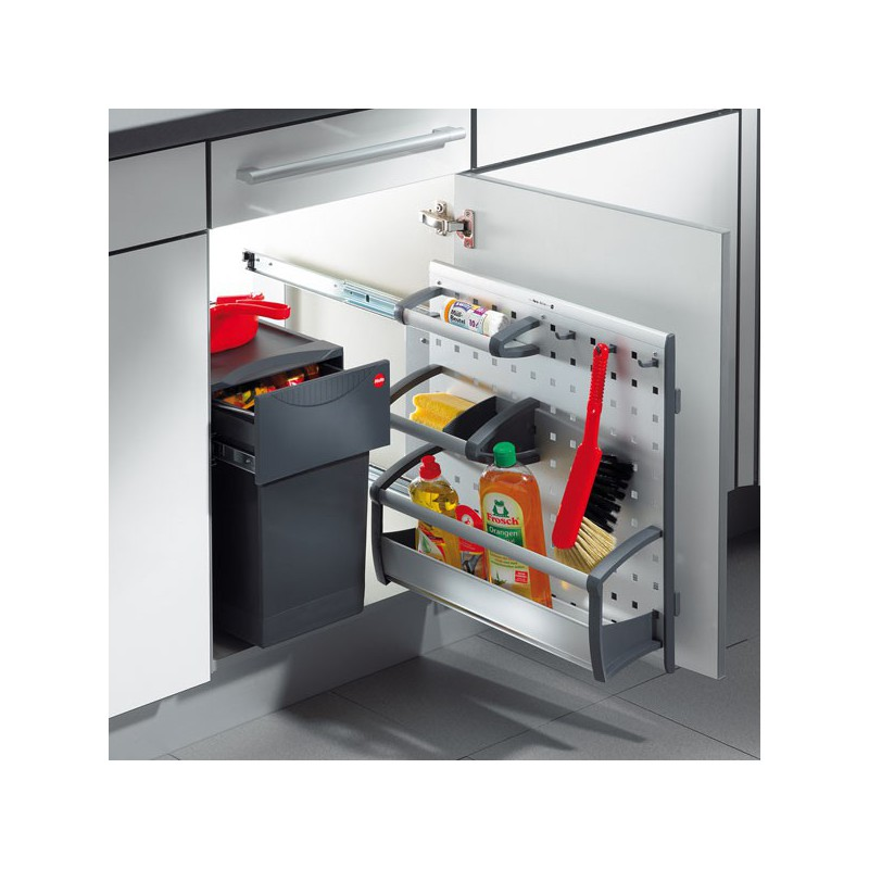 Porte accessoires aluminium sous vier hailo for Accessoire inox cuisine