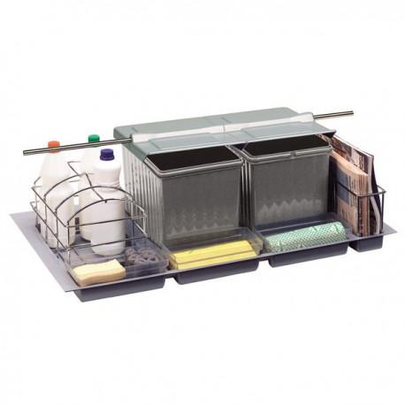 poubelle cuisine pour tiroirs 3 bacs 27 litres rangement. Black Bedroom Furniture Sets. Home Design Ideas