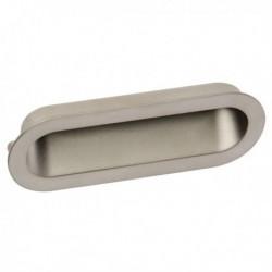 Poignée de meuble cuvette look inox ovale
