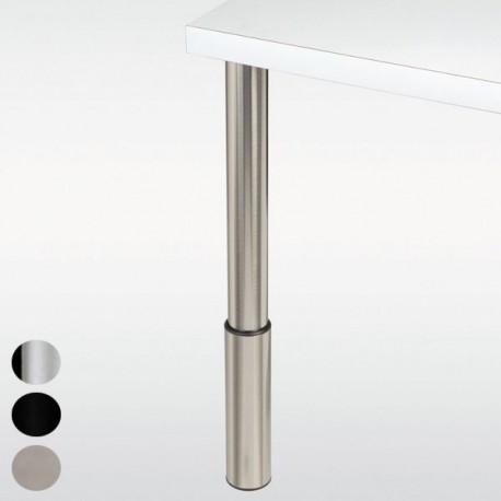 Pied de bar réglable, chromé, inox ou noir, hauteur 910 à 1010mm