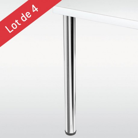 Lot de 4 pieds de table Ø 60 mm chromé- hauteur 710 mm