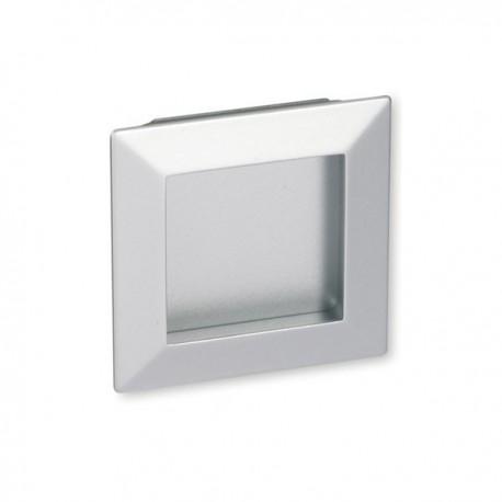 Poignée de meuble carré à encastrer look alu