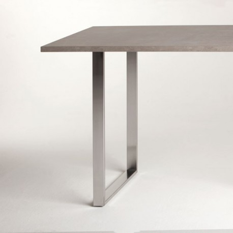 Pied de table péninsule rectangulaire blanc, chromé ou look inox, 710 ou 870 mm