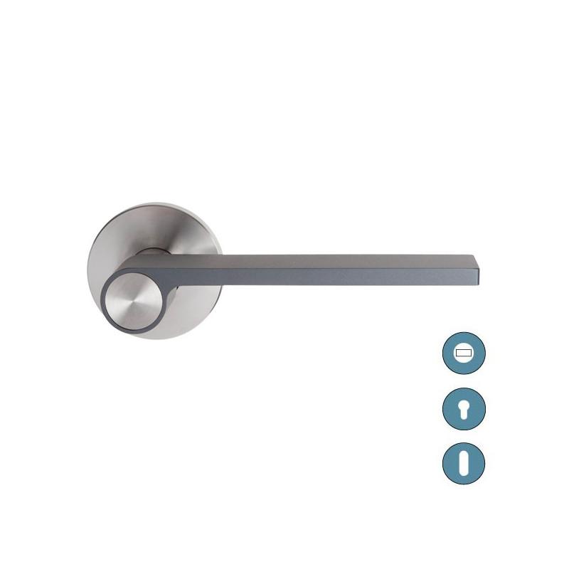 Poign e de porte outline rosace gris inox - Destockage poignee de porte ...