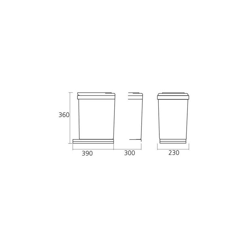Poubelle rectangulaire 1 bac 16l blanc - Poubelle de cuisine rectangulaire ...