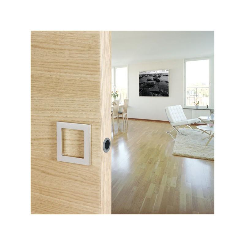 set de 2 poign es de porte coulissante coller carr. Black Bedroom Furniture Sets. Home Design Ideas