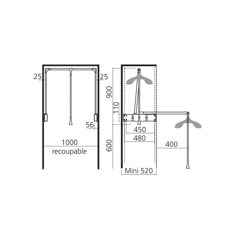 penderie double professionnelle. Black Bedroom Furniture Sets. Home Design Ideas