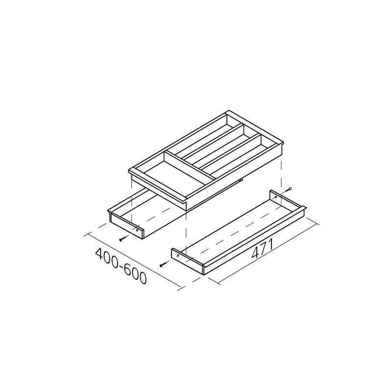 range couverts bois adaptable pour tiroir de 400 600 mm. Black Bedroom Furniture Sets. Home Design Ideas