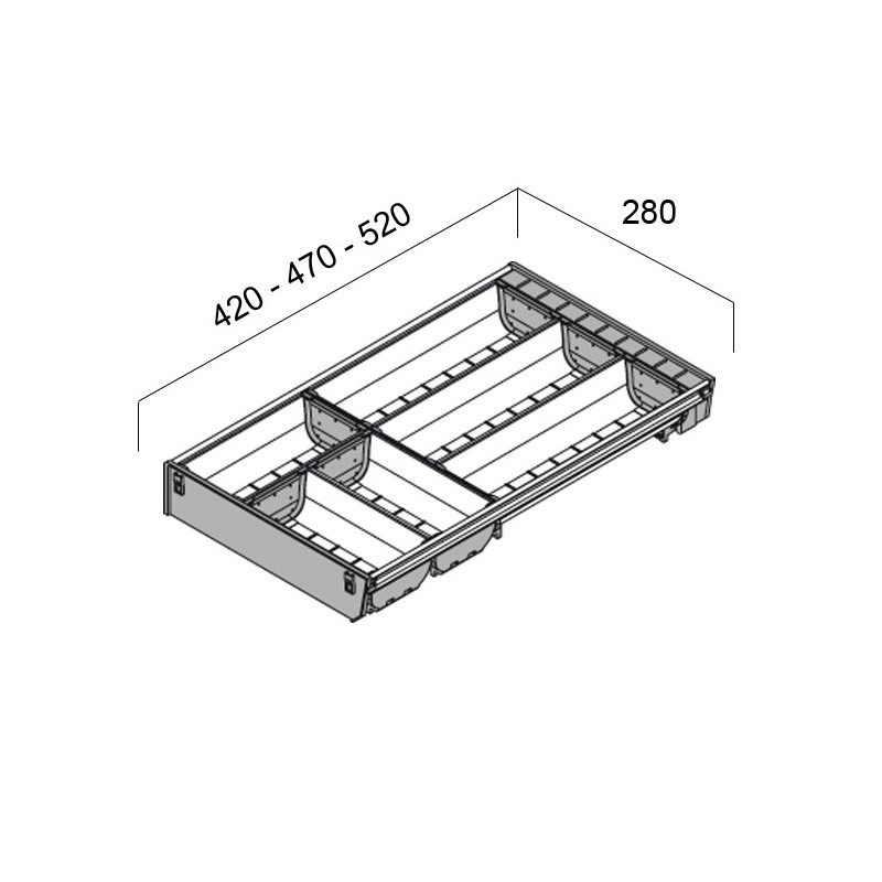 rangecouverts inox pour tiroir de 900 mm