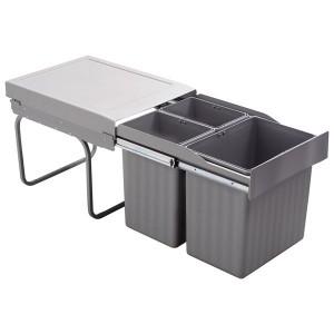 Poubelle de cuisine coulissante 3 bacs - 31 litres