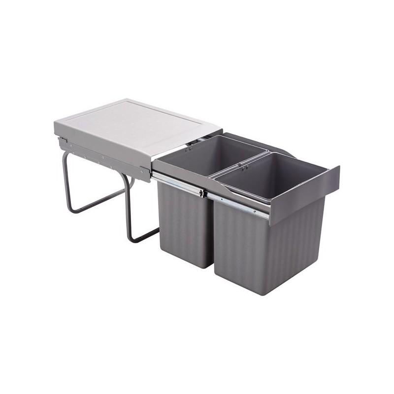 poubelle encastrable coulissante 2 bacs 32 litres. Black Bedroom Furniture Sets. Home Design Ideas
