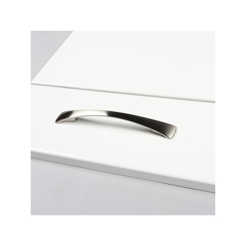 Poign e de meuble style inox bross entraxe 128 mm for Meuble de cuisine inox