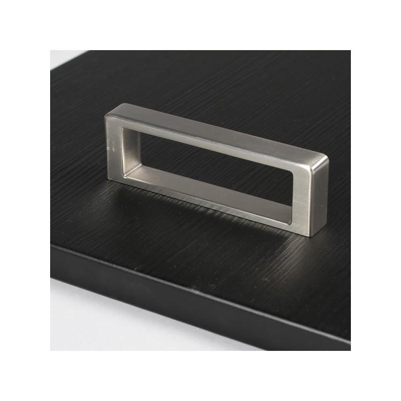Poign e de meuble cubico look inox for Poignee meuble cuisine inox