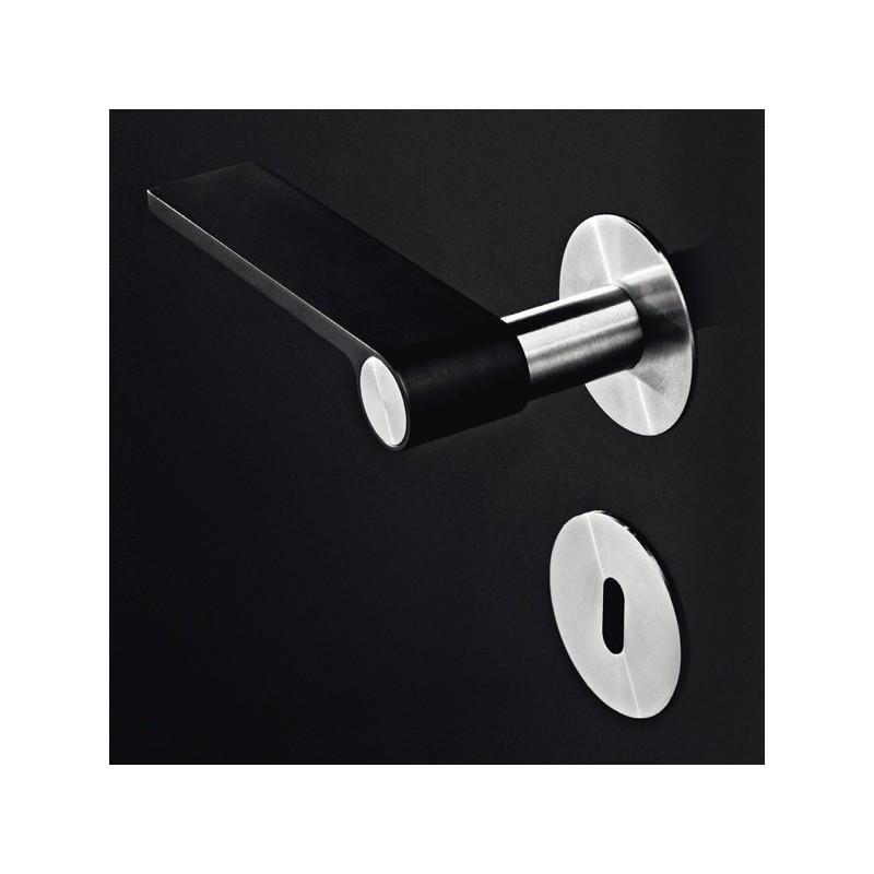 poign e de porte outline rosace noir inox. Black Bedroom Furniture Sets. Home Design Ideas