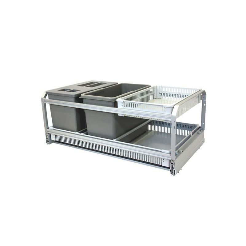 Poubelle de cuisine coulissante 3 bacs 45l for Rangement poubelle cuisine ikea