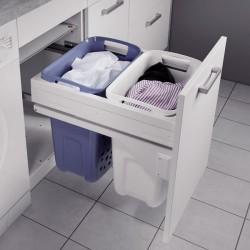 Panier à linge 2 bacs coulissant pour meuble de 450 mm