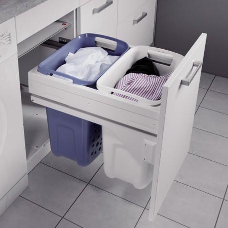 Panier linge 2 bacs coulissant pour meuble de 450 mm for Panier coulissant pour meuble de cuisine