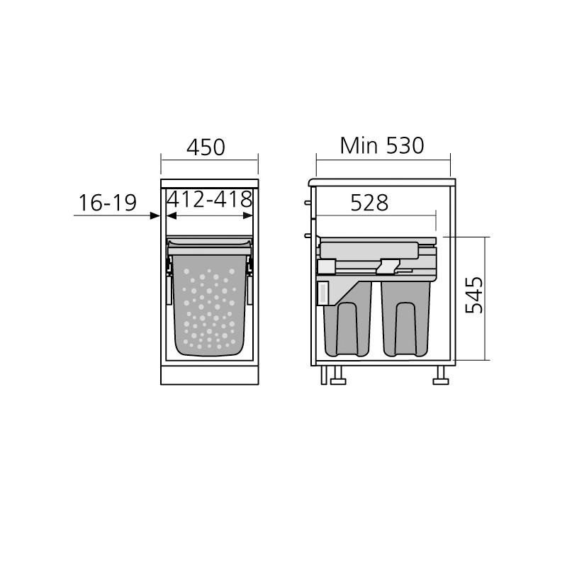Panier linge 2 bacs coulissant pour meuble de 450 mm - Meuble salle de bain panier a linge integre ...
