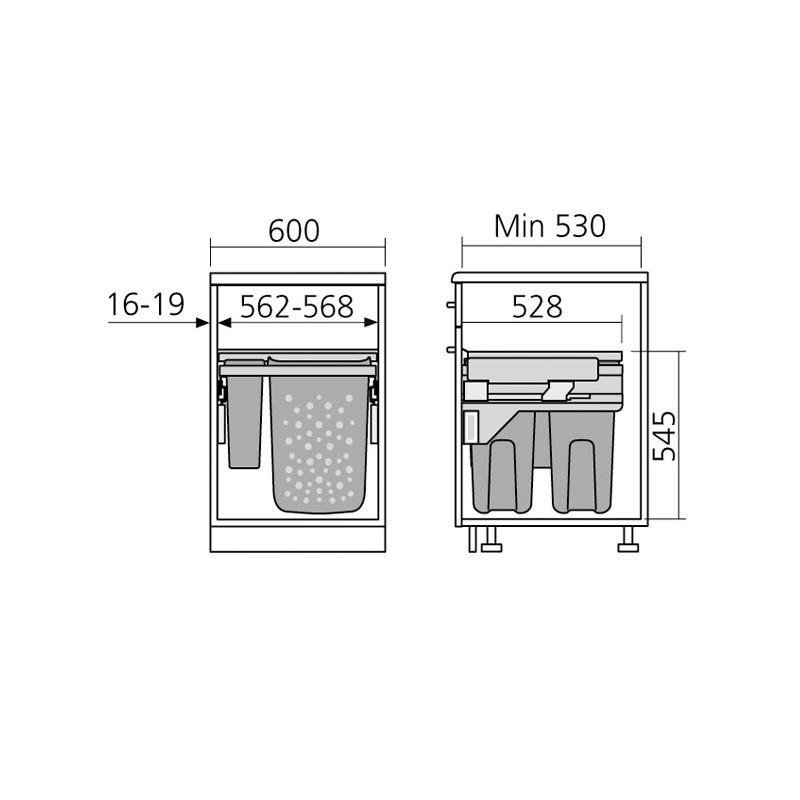 Panier linge coulissant pour meuble de 600 mm for Paniers coulissants pour meubles cuisine
